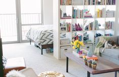 Apartment Therapy Small Spaces Living Room: Small Space Solutions: 12 Ideas to Steal From Stylish Studios Apartment Design, Apartment Living, Apartment Therapy, Apartment Layout, Apartment Interior, Apartment Ideas, Bachelor Apartment Decor, Studio Apartment Divider, Studio Apartment Furniture