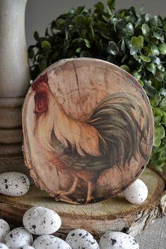 Kogut na plastrze drewna 4 - decoHOUSE - Dekoracje wielkanocne