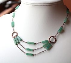 Art Deco Jade Green Multistrand Necklace in Antique Copper