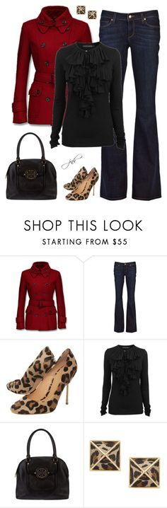 Red+Black+Leopard by jillnmitchell on Polyvore featuring Ralph Lauren Blue Label, Mexx, Paige Denim, Kurt Geiger, Tory Burch, Belle Noel by Kim Kardashian, top handle bags, ruffle blouses, leopard print and trench coats