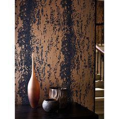 Harlequin Eglomise Paste the Wall Wallpaper, Lapis, 110623 - Modern Harlequin Fabrics, Harlequin Wallpaper, Copper Wallpaper, Industrial Wallpaper, Bold Wallpaper, Wallpaper Paste, Trendy Wallpaper, Metallic Wallpaper, Black Wallpaper Bedroom