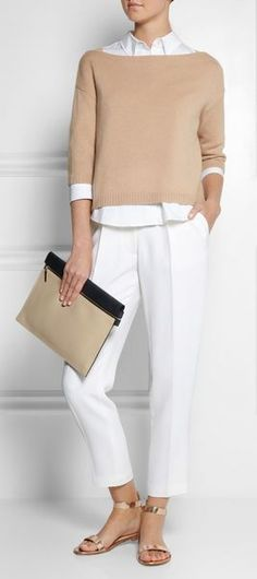 White dress shirt; Neutral sweather; White capris; Metallic sandals Accessory: Neutral with black accent clutch