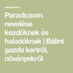 Paradicsom nevelése kezdőknek és haladóknak | Bálint gazda kertről, növényekről Balcony Garden, Math Equations, Feelings, Room, Rooms, Balcony Gardening, Bedroom