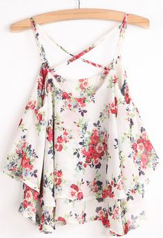 Designer Clothes, Shoes & Bags for Women Floral Print Shirt, Floral Prints, Cheap Womens Tops, Floral Crop Tops, Floral Chiffon, Crop Shirt, Ruffle Top, White Tops, Cool Outfits