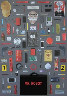 Mr. Robot poster by Jordan Bolton. Made by recreating original objects from the TV series.