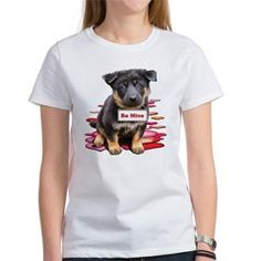 """""""Be Mine"""" Cute puppy Valentines Day design for German Shepherd Dog lovers."""
