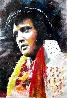 """Aloha Elvis"" Elvis Presley - Rock - mixed media - 28x40 inches - Original art by Marcelo Neira"
