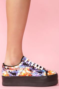 Channeling the inner nineties-child    Zomg Platform Sneaker - Neon Floral $65