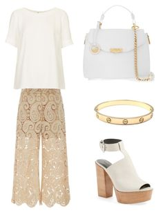 """""""White and nude"""" by anastasiia-loparevich on Polyvore featuring мода, Rebecca Minkoff, self-portrait, Versace, Topshop и Cartier"""