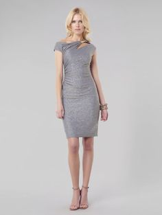 Shimmering Dress with Split Neckline
