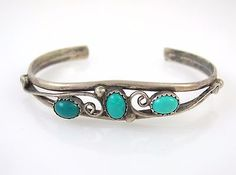 Old-Pawn-Navajo-Handmade-Sterling-Silver-amp-Turquoise-Cuff-Bracelet-RS-I
