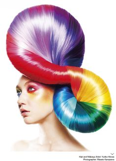 Calling All Photographers Makeup Stylist Teams in Asia! Show Shiseido Your Most Creative Muscles Taste The Rainbow, Over The Rainbow, Creative Hairstyles, Cool Hairstyles, Avant Garde Hair, Fantasy Hair, Wild Hair, Hair Shows, Rainbow Hair