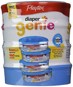 Playtex Diaper Genie Disposal System Refills 4 Count ** Learn more by visiting the image link. (Note:Amazon affiliate link)