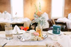vintage serving trays as table decorations