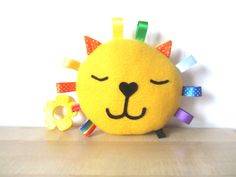 Baby Toy Lion: Happy Lion Rattle Plush Toy with Squeaker and Teether (15.00 GBP) by MadeByEdenGrace