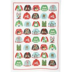These whimsical tea towels feature our exclusive ugly sweater artwork printed on 100% cotton towels. A fun holiday accessory for your kitchen and a wonderful gift for your favorite hostess.