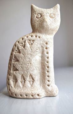 Aldo Londi for Bitossi Flavia Montelupo Italy Unglazed Pottery Cat 60s
