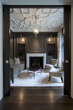 Salon with Custom Plaster Ceiling traditional living room design by chicago architect dSPACE Studio Ltd Living Room Designs, Living Spaces, Plafond Design, Ceiling Treatments, Traditional Exterior, Traditional Design, Traditional Bedroom, Traditional Staircase, Ceiling Design