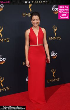 Tatiana Maslany Slays The 2016 Emmys Red Carpet In A Plunging Red Gown