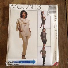 Misses' Vest, Tunic, Skirt in Two Lengths, Pants and Shawl Wardrobe Uncut Pattern 6841 by McCall's