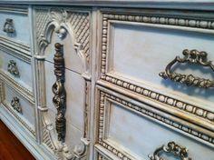 I used Annie Sloan's St. Louis Blue chalk paint to transform this 70's dresser. Love using her dark wax.