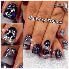New Year's Engagement Party! Navy, Blue, Silver, White and Black. My New Years Nails