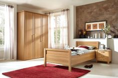 Schlafzimmer SAPHIR in Wintereiche Nachbildung: Drehtürenschrank: 3-türig, ca. 150 x 222 x 62 cm, Einzelbett: ca. 100 x 200 cm, Nachtschrank: 52 x 52 x 40 cm