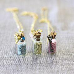 Fairy Dust Pendant Necklace Pixie Magic Jar Vial by MegsyJane