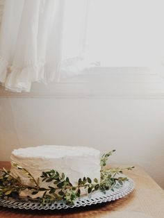 FOR OUR CAKE - WHITE MESSY FROSTING AND GREENERY
