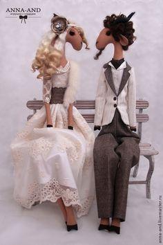 Коллекционные куклы ручной работы. Ярмарка Мастеров - ручная работа Влюбленная пара-символ 2015 года. Handmade.