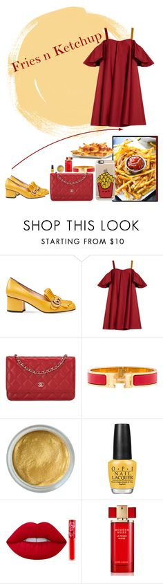 """""""Fries n Ketchup"""" by katykitty5397 ❤ liked on Polyvore featuring Gucci, Anna October, Chanel, Hermès, OPI, Lime Crime, Estée Lauder, Casetify, fries and ketchup"""