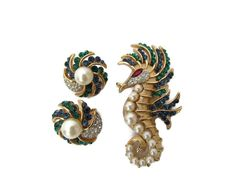 Signed Trifari Jewelry Alfred Philippe Seahorse Brooch Sea horse Earrings Ruby Sapphire Emerald Pearl Jewery Set High End Vintage Jewelry