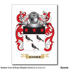 Kimber Coat of Arms (Family Crest) Postcard