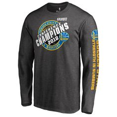 525e14b6dad1 $34.99 Men's Golden State Warriors Fanatics Branded Heather Charcoal 2018 Western  Conference Champions Keyhole Slogan Long