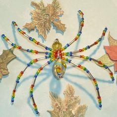 Rainbow Beaded Spider Ornament    MerriAmelie - Seasonal on ArtFire