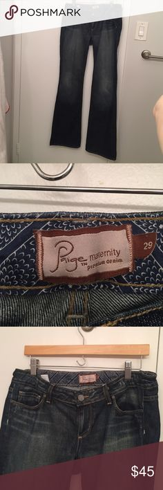 """Paige Premium Westbourne Maternity Jeans Size 29 Awesome Dark Fade Paige Premium maternity jeans! Size 29, barely worn (Paige jeans last forever - I've had my other pair for 2 years and they're so comfortable I still wear them). Adjustable waist, 34"""" inseam (have not been shortened). Flare and wide leg. Paige Jeans Other"""