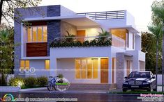 Modern flat roof 4 bedroom box type home plan by Forms 4 Architectural, Kerala House Outer Design, House Roof Design, Flat Roof House, 2 Storey House Design, Duplex House Design, Home Building Design, Simple House Design, Modern House Design, Flat House Design