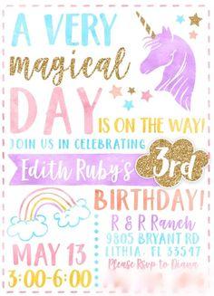 A magical unicorn birthday - unicorn party invitation #unicornbirthday #kidsbirthday #girlsbirthdaypartyideas
