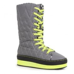 8262 Women Lace-Up Mid-Top Platform Sneaker Mid-Calf Booties - Grey