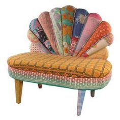 """One-of-a-kind peacock chair handcrafted from multicolored vintage kantha cloth.   Product: ChairConstruction Material: Cotton kantha clothColor: MultiFeatures:  One of a kindHandcrafted   Dimensions: 22"""" H x 36"""" W x 20"""" D"""