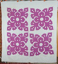 Vintage 30's Snowflake Cutout Reverse Applique Antique Quilt Top ~Hawaiian Style