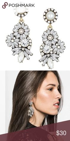 """Brand new Lotus Pearl Crystal statement earrings Brand new Pearl and crystal flower statement earrings. Gorgeous and elegant. Perfect for special occasions. About 2.5"""" drop. Lotus Jewelry Earrings"""