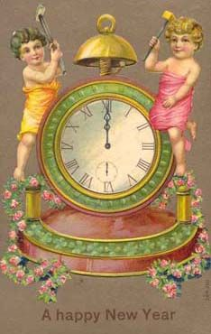 vintage postcard happy new year children and clock Vintage Happy New Year, Happy New Year Cards, Happy New Year 2019, New Year Wishes, New Year Greetings, Vintage Greeting Cards, Vintage Postcards, Vintage Images, French Vintage