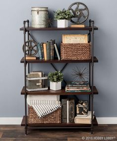Stylishly display your favorite books, baubles and more with on-trend bookshelves—available in-store. Joanna Gaines, Modern Industrial Decor, Basement Inspiration, Creative Inspiration, Home Decor Quotes, Diy Home, Diy On A Budget, Home Decor Styles, Home Decor Bedroom