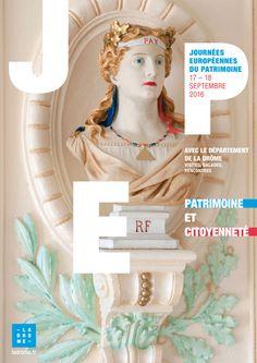 Affiche  Journées Européennes du Patrimoine 2015  format 40 x 60 cm Conservation départementale du patrimoine de la Drôme Graphiste : Olivier Umecker