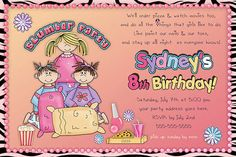 Pajama Party slumber party Birthday Invitation - DIY Print Your Own Invitation
