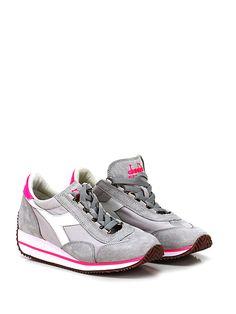DIADORA Heritage - Sneakers - Donna - Sneaker in tessuto e camoscio effetto vintage con suola in gomma. Tacco 30, platform 10 con battuta 20. - GREY\PINK - € 165.00