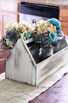 17 Pretty Mason Jar Flower Arrangements - Best Floral Centerpieces in Mason Jars Old Tool Boxes, Wood Tool Box, Wooden Tool Boxes, Mason Jar Flower Arrangements, Mason Jar Flowers, Floral Centerpieces, Floral Arrangements, Wooden Flower Boxes, Wood Flowers
