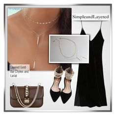 """""""SimpleandLayered - Etsy"""" by monmondefou ❤ liked on Polyvore featuring Valentino, choker, layerednecklace and simpleandlayered"""
