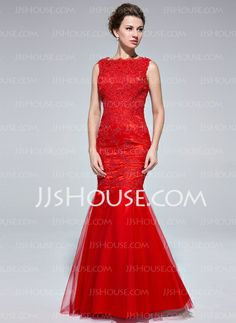 Evening Dresses - $176.99 - Mermaid Scoop Neck Floor-Length Tulle Evening Dress With Lace (017025685) http://jjshouse.com/Mermaid-Scoop-Neck-Floor-Length-Tulle-Evening-Dress-With-Lace-017025685-g25685